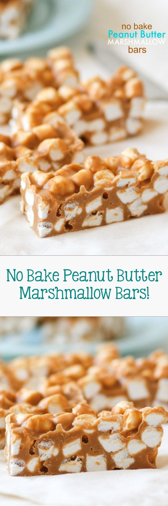 No Bake Peanut Butter Marshmallow Bars -- they are so pretty when you cut them into squares and see all those pretty marshmallows inside!