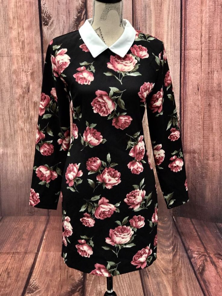 Womans white collar black Dress with roses  Missguided long sleeves zip up back