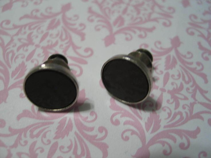 Vintage Cufflinks Cuff Links Men's Jewelry Brown Enamel Screw Type #Unbranded