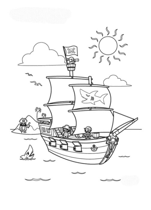 Ausmalbild Piratenschiff kostenlos 3   Ausmalbilder ...