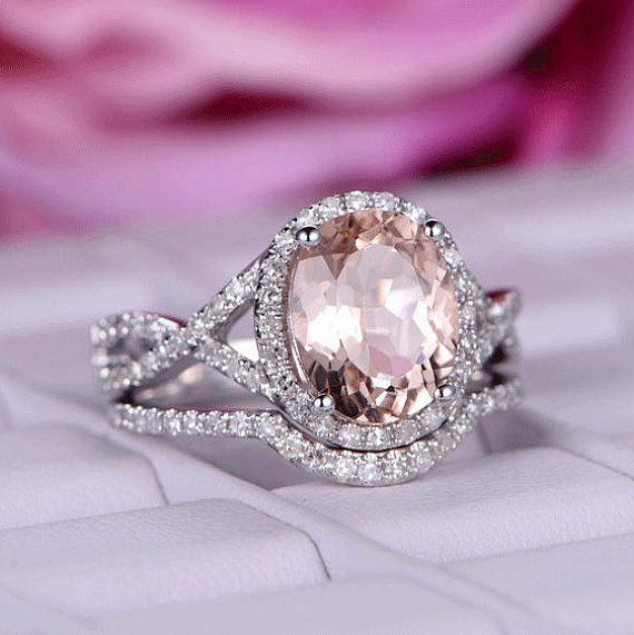 664c999e684d9 2 pcs 8x10mm Big Oval Cut Morganite engagement ring set/Diamond ring ...