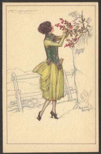 Art Mauzan Elegant Woman w Flowers Postcard # 544-3 L@@K