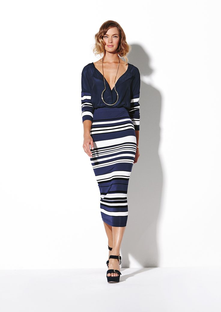 Resort Stripe Splice Tab Top and Resort Stripe Midi Skirt