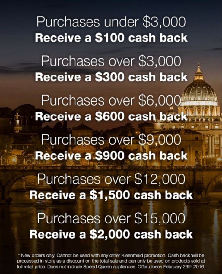 Kleenmaid - save on your KITCHEN APPLIANCES - Up to $2,000 Cash Back*  The MORE you buy the MORE you save - from $100 to $300 to $600 to $900 to $1,500 and up to $2,000! - THIS  KLEENMAID SPECIAL WILL END ON 29th February 2016.