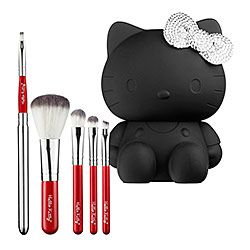 How freakin' cute is this?! $55 Sephora Hello Kitty Noir 5-piece brush set @Kristen Tanner Did you know how much HK stuff Sephora had?!