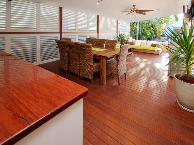 Outdoor Kitchens with Aluminum Shutters = Airflow with privacy.