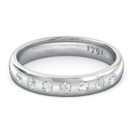 Radiosa Women's Wedding Band in 18kt White Gold - Top View
