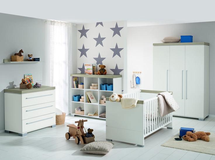 Elegant PAIDI KIRA Elegantes Babyzimmer Design mit klaren Linien in Kreidewei Eiche Nautik Nachbildung