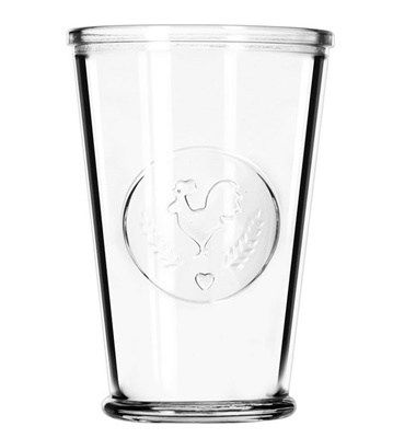 These Libbey 92182 Farmhouse 9 oz Juice Glass has an embosses circle with a rooster, wheat and heart design.