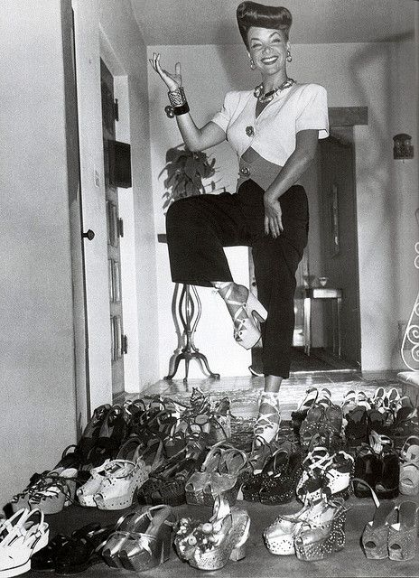 Carmen Miranda. Take note of her shoes...Keep them long enough everything comes back in style!!!