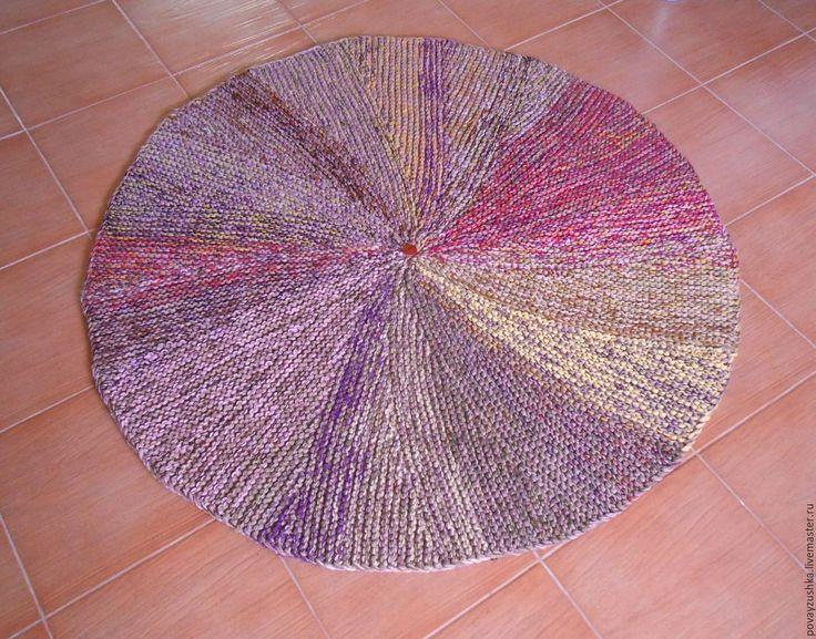 """Купить вязаный коврик круглый """"Зонтик"""" - комбинированный, круглый коврик, вязаный коврик, меланж"""
