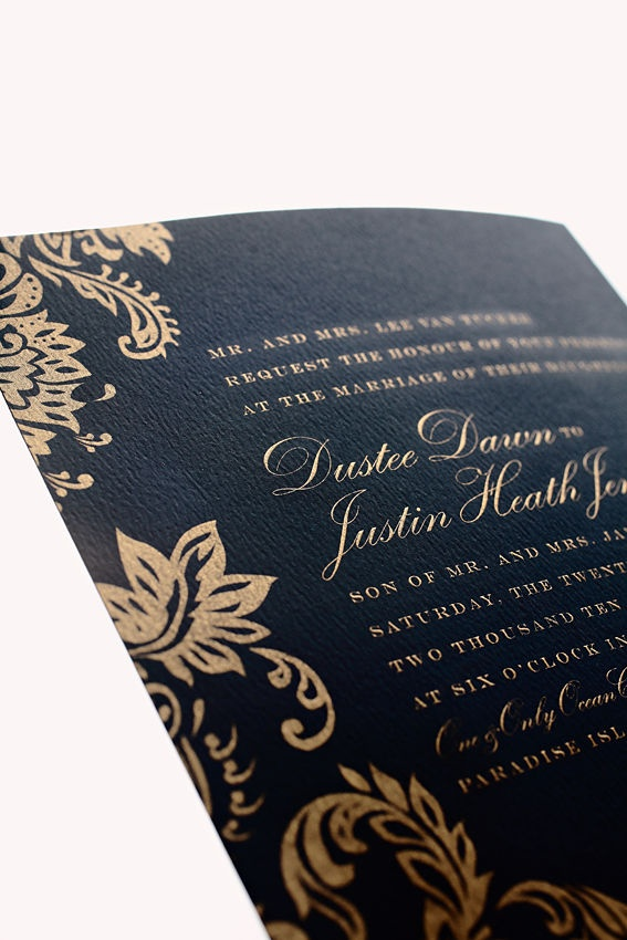 Navy and Pink wedding invite.  Her third color was Gold.