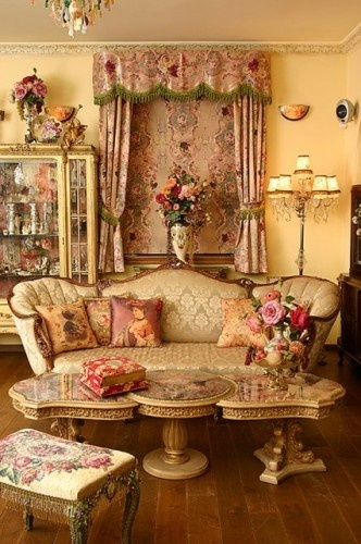 LIVING ROOM:  The holy grail of girly living rooms...Victorian overload!  I love it.