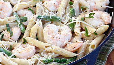 Skillet Shrimp and Asparagus Pasta with Progresso Recipe Starters