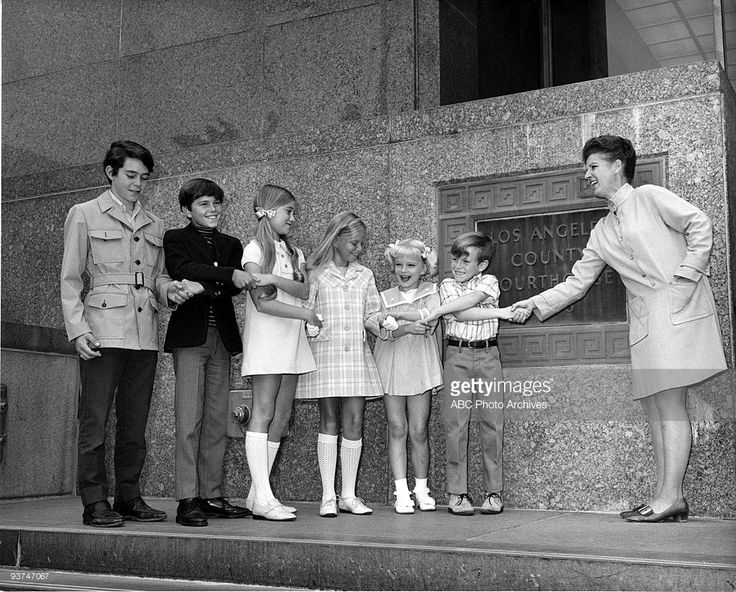 BUNCH - 'The Honeymoon' - Pilot - Season One -, 9/26/69, A widower with three sons married a widow with three daughters to become the Brady Bunch. The children, pictured from left, were played by Barry Williams (Greg), Christopher Knight (Peter), Maureen McCormick (Marcia), Eve Plumb (Jan), Susan Olsen (Cindy) and Mike Lookinland (Bobby), Ann B. Davis (Alice) played the family's housekeeper.,