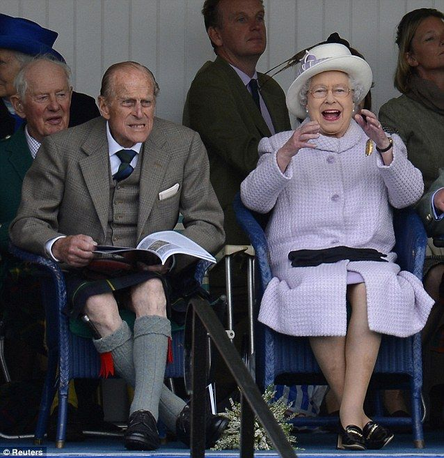 HM The Queen and Prince Philip watching the Highland Games at the Braemar Gathering near Balmoral Castle in Aberdeenshire, Scotland