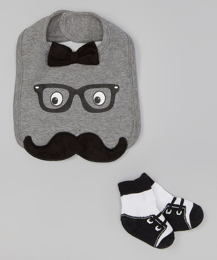 Look what I found on #zulily! Gray Bowtie & Mustache Bib & Socks by Baby Starters #zulilyfinds