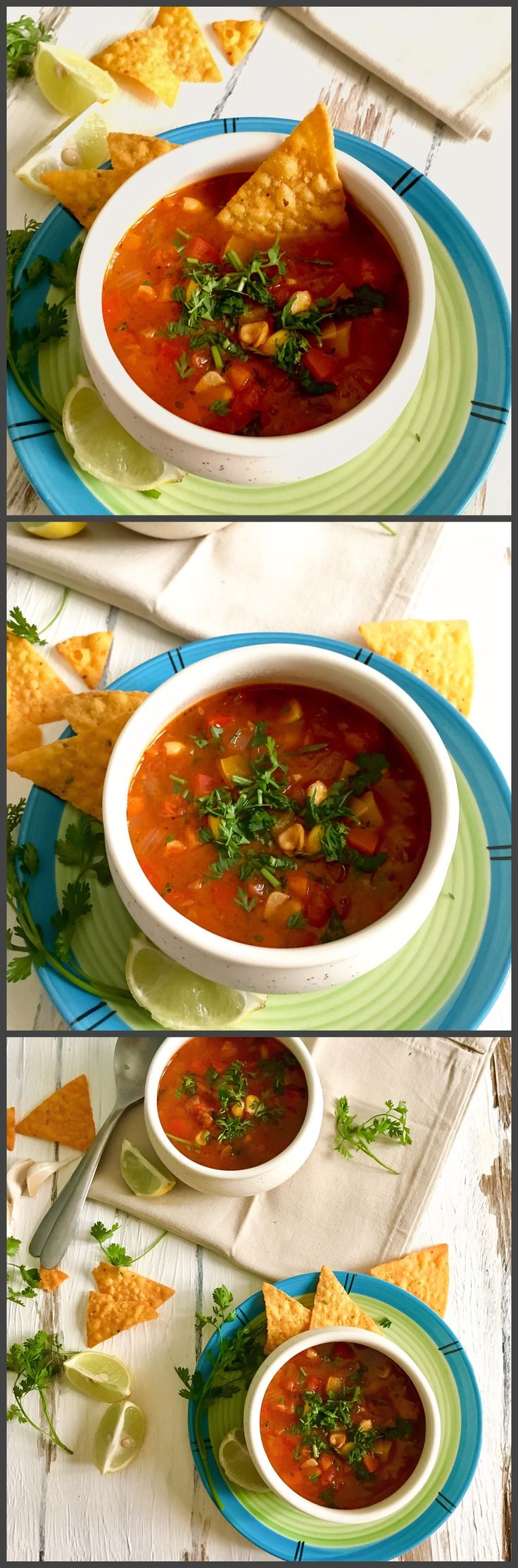 Mexican Vegetable Soup | vegan and gluten free Healthy, spicy and tangy soup which is full of veggies and fresh flavours will definitely become your favourite! Pair it with some salad or have it as it is...this soup is addictive. This soup has no msg, APF or cornflour or any artificial flavours.