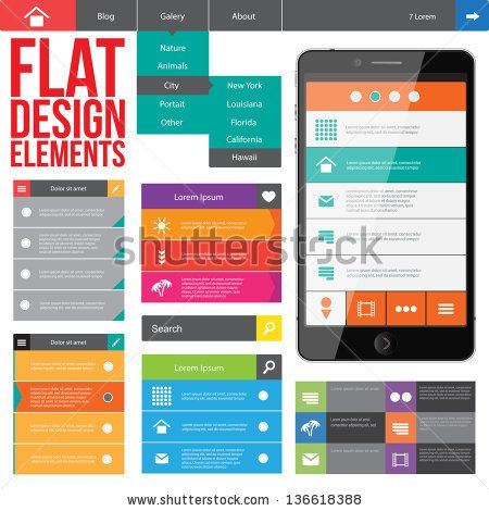 Flat Web Design, elements, buttons, icons. Templates for website. by Alexandr Peers, via ShutterStock