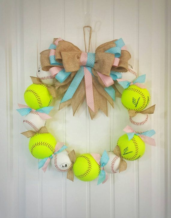 Darling baseball/softball themed baby wreath!!  Perfdcr for gender reveal parties and baby showers!! Check out this item in my Etsy shop https://www.etsy.com/listing/286347199/gender-reveal-baseball-wreath-perfect