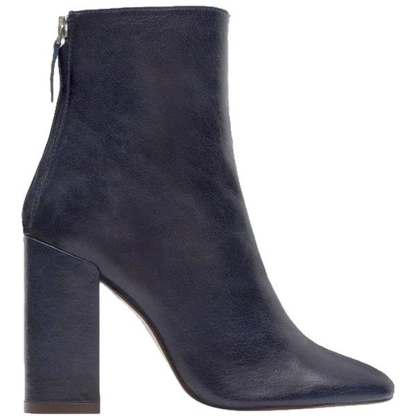 Pre-owned Zara New Box Real Leather Block High Heels Ankle 6.5 Nib... ($129) ❤ liked on Polyvore featuring shoes, sandals, navy blue, navy sandals, block heel shoes, navy leather sandals, zara shoes and leather sandals