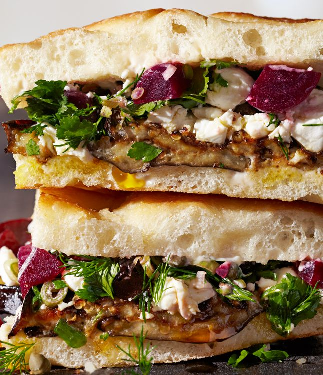 Roasted Eggplant and Pickled Beet Sandwiches from Saltie in Brooklyn, NY