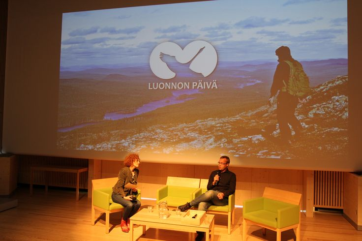 Founder of outdoor media Antti Huttunen interviewed by national park advocate Saimi Hoyer. The Day of Finnish Nature 2015. Photo: Metsähallitus / Antti Saario