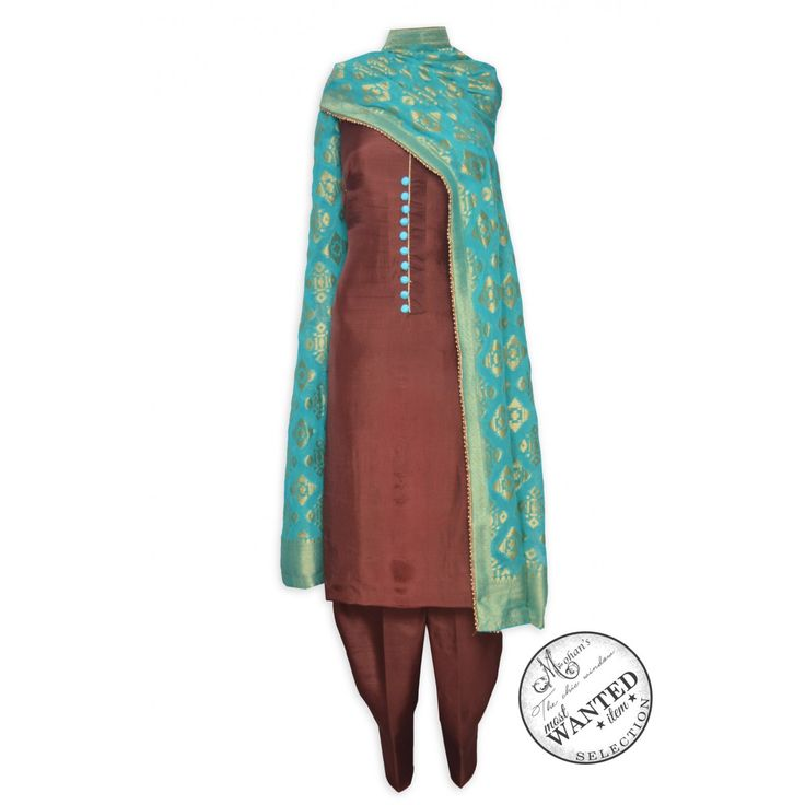 Appealing rosewood brown unstitched suit featuring in benarasi dupatta-Mohan's the chic window