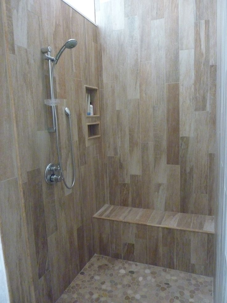 Walk In Shower Tile Options Love The Floor Pebbles The Same Color As The Walls Shower Head