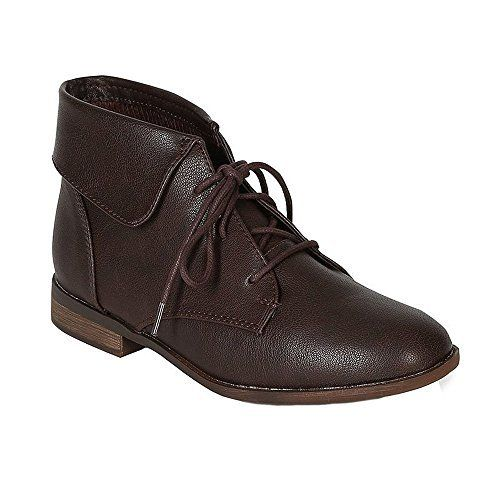 Breckelleu0027s FONTANA 11 Womenu0027s Round Toe Lace Up Foldable Ankle Booties,  Http:/