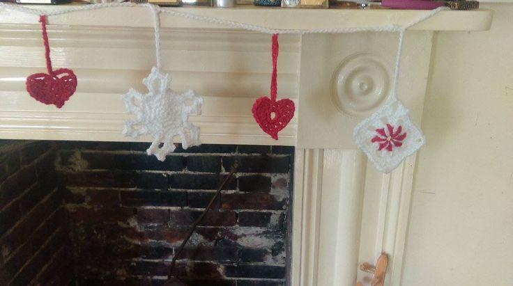 crochet christmas bunting - WIP