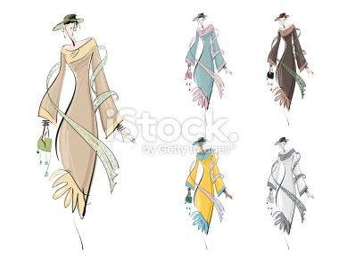 Secteur de la mode, Croquis, Dessin, Mannequin, Illustration et peinture Illustration vectorielle libre de droits