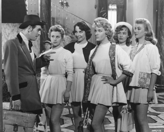 George Cole, Dilys Laye, Marigold Russell, Lisa Gastoni, Marianne Brauns and Vikki Hammond  in Blue Murder at St. Trinian's. 1957