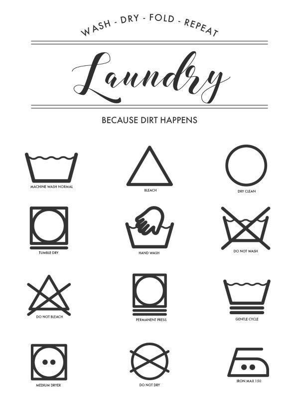 Printable Laundry Symbols Wall Art Laundry Symbols Laundry Room Printables Laundry Room Wall Art