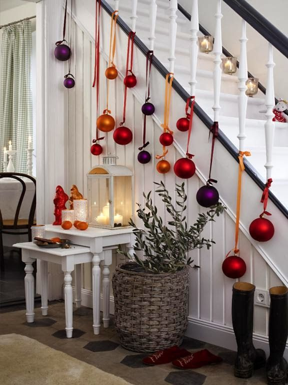 Simple, inexpensive and festive Christmas decorations. These would look nice hanging from the outside deck and stairs.