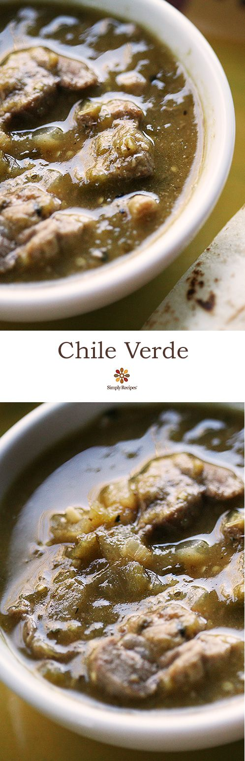 Best chile verde recipe! Cubes of pork shoulder simmered in tomatillo sauce. On SimplyRecipes.com #glutenfree #Mexican #dinner
