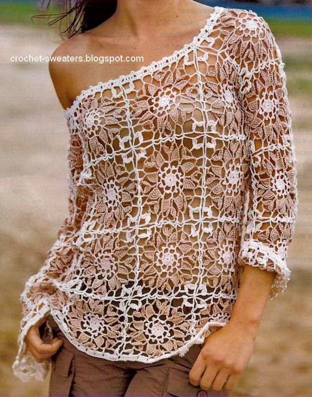 Crochet Sweater: Women's Sweater - Crochet Sweater Free Pattern - Gorgeous  ----  für Frauen: gehäkelter Pullover - freie Anleitung ...