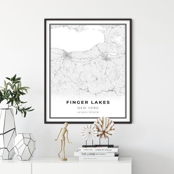 Finger Lakes Map Print New York Ny Usa Map Art Poster City Etsy In 2020 Usa Map Art Usa Map Map Wall Decor