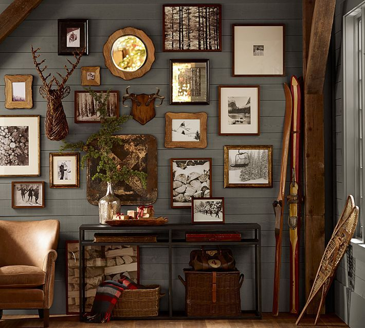 Homey and earthy... nice wall arrangement. Great for decorating with pictures.