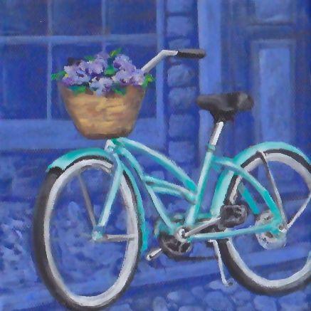 """Nantucket Bicycle by Lauren Epple """"elley of new england"""" Acrylic on Canvas 6x6"""" 2014"""