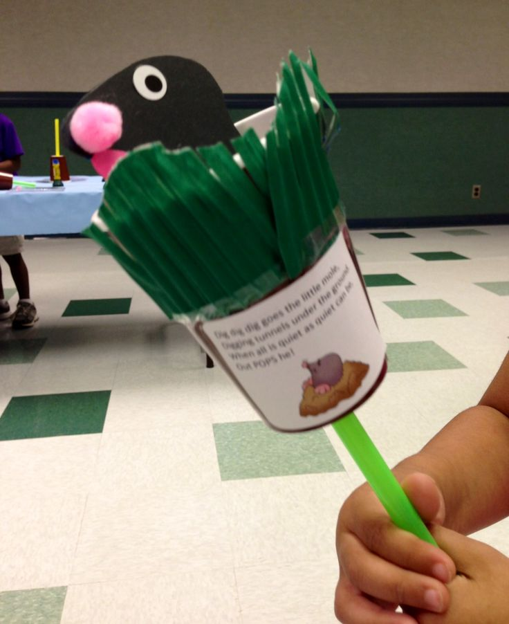 """Under the Ground"" was the theme for tales for 2's & 3's on Tuesday, July 2.  We read some great underground stories and made a mole craft that uses these simple supplies: brown paper cup, straw, construction paper mole, and green paper for grass.  Make a hole in the bottom of your cup for your straw and attach your mole to the straw.  Try it at home!"