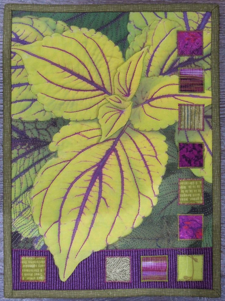 """""""Chartreuse Coleus 2"""" quilt by Terry Aske. This is a photo of a coleus plant printed onto prepared fabric, then enhanced with free-motion quilting and appliqued squares of fabric."""