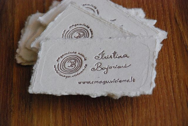 homemade business card by :magic: handmade paper, letterpress...maybe an embosser would create similar effect