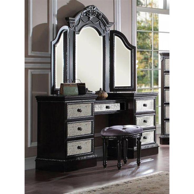 Athena Vintage Silver Espresso Wood Glass Vanity Set My Bedroom Dressing Room Bathroom And