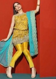 Party Wear Yellow Georgette Heavy Embroidery Work Salwar Suit