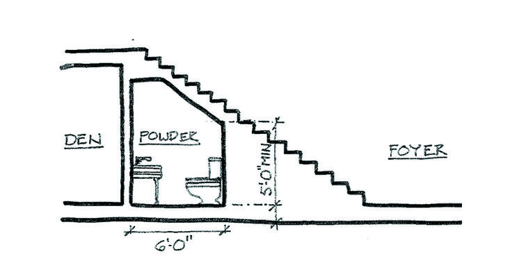 This option makes use of an area that's frequently underutilized. For privacy's sake, it works best in homes with an enclosed foyer that opens into adjacent entertaining spaces. The two biggest obstacles are providing ample headroom (I recommend a minimum height of 5 feet above the toilet; check your local codes for height requirements) and ventilation (an exhaust vent will need to be run to the exterior). Place the sink or vanity on the tallest wall so hand washers won't bump the...