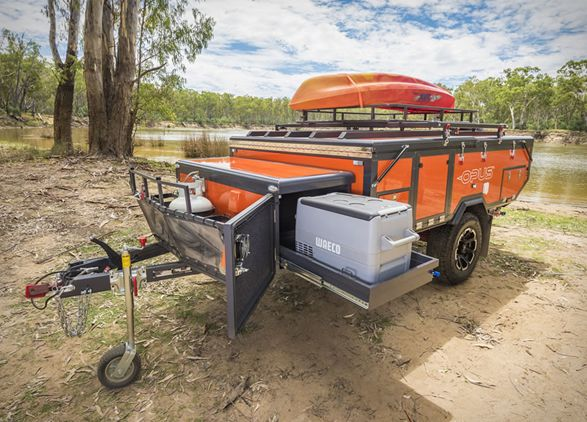 The new Opus Outback Camper uses air pressure instead of pole frames, to make camping even more hassle-free. Using Air Pole technology to inflate in just 90 seconds, this towable trailer opens up and self-inflates into a full-sized 4 Sleeper capacity