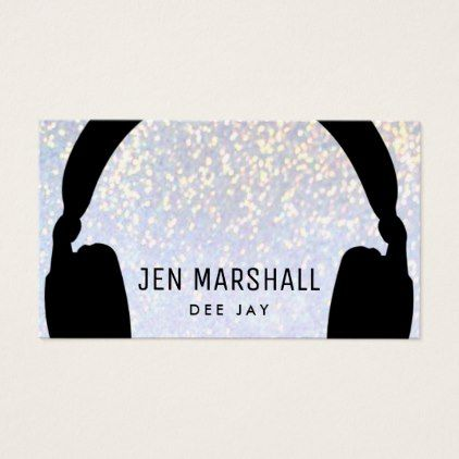 DJ headphones on faux sparkle Business Card - modern gifts cyo gift ideas personalize