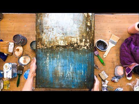 Abstraktes Bild in Acryl, mit Folie, Struktur, Anl…