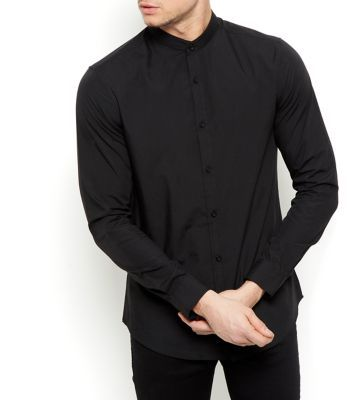 "This black grandad collar shirt is a classic wardrobe piece - great for an evening and work-wear wardrobe.- Grandad collar- Simple long sleeves- Button front fastening- Casual fit- Model is 6'0""/183cm and wears size Medium/Chest 96-101cm"